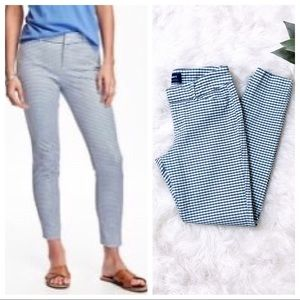 Old Navy Mid-Rise Light Blue Gingham Pixie Pants